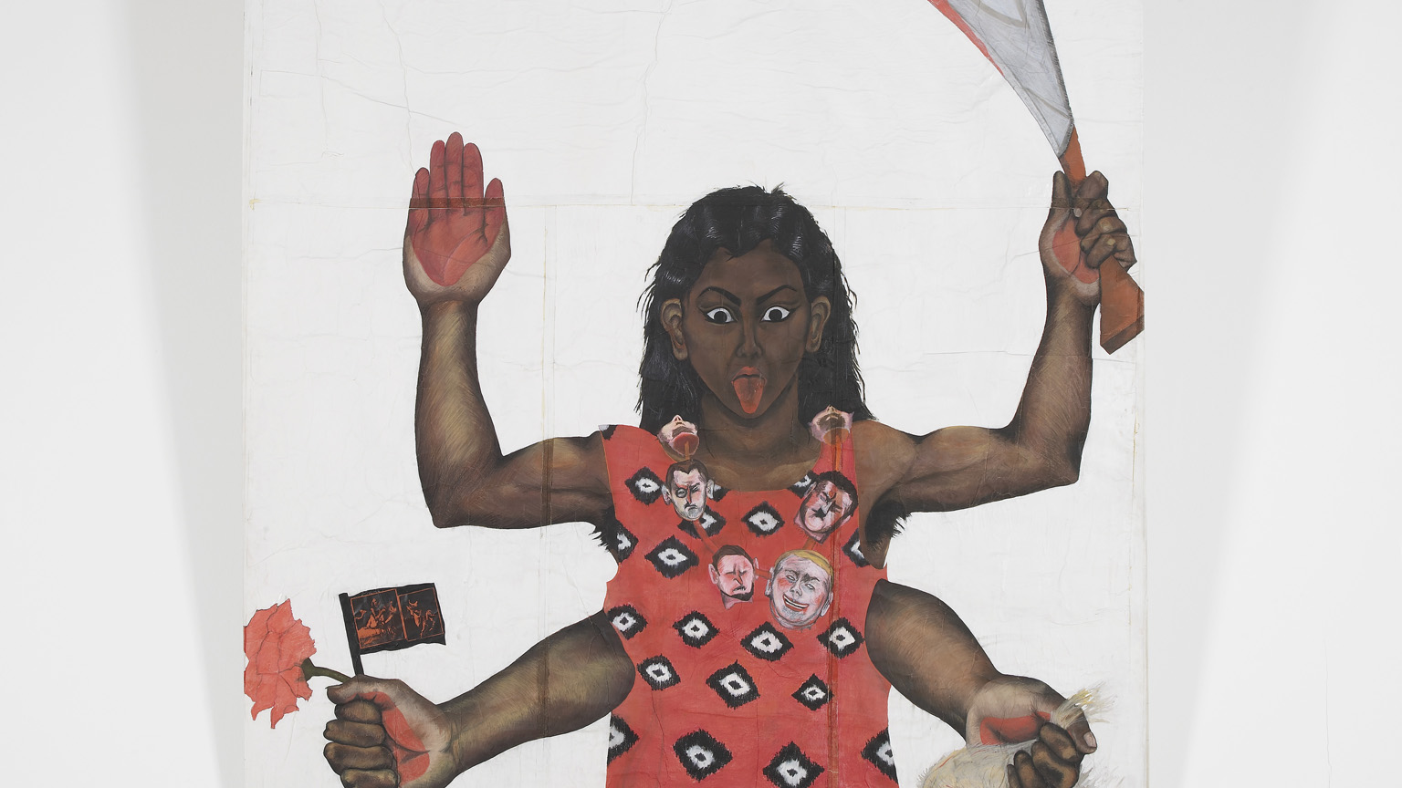Sutapa Biswas, Housewives with Steak-knives, 1984-85, Oil, acrylic, pastel, pencil, white tape, collage on paper mounted onto stretched canvas, 2450 x 2220mm