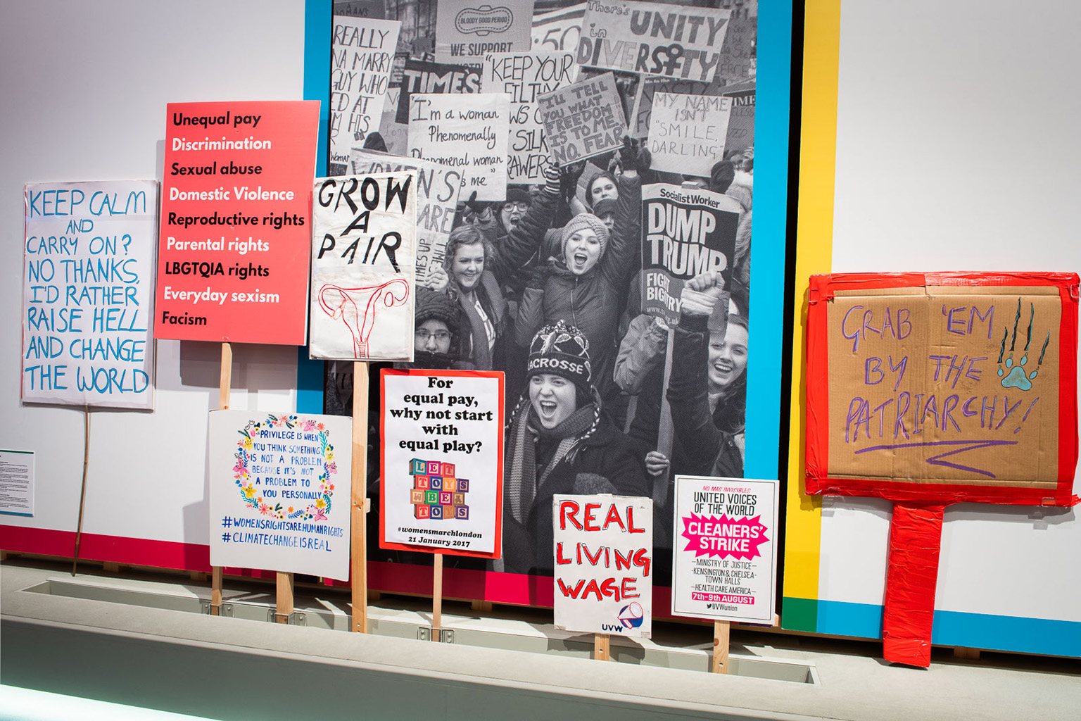 Placards loaned by Bishopsgate Institute for Unfinished Business exhibition at the British Library © Bishopsgate Institute