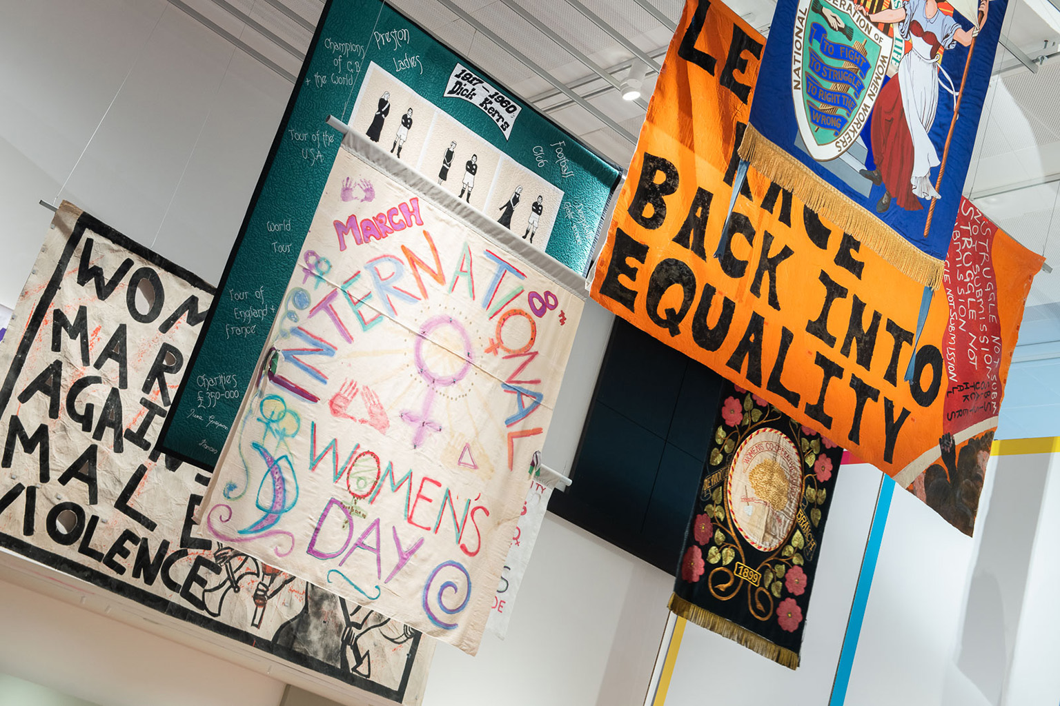 Banners loaned from Southall Black Sisters, Bishopsgate Institute, People's History Museum, Sisters Uncut, Feminist Archive South