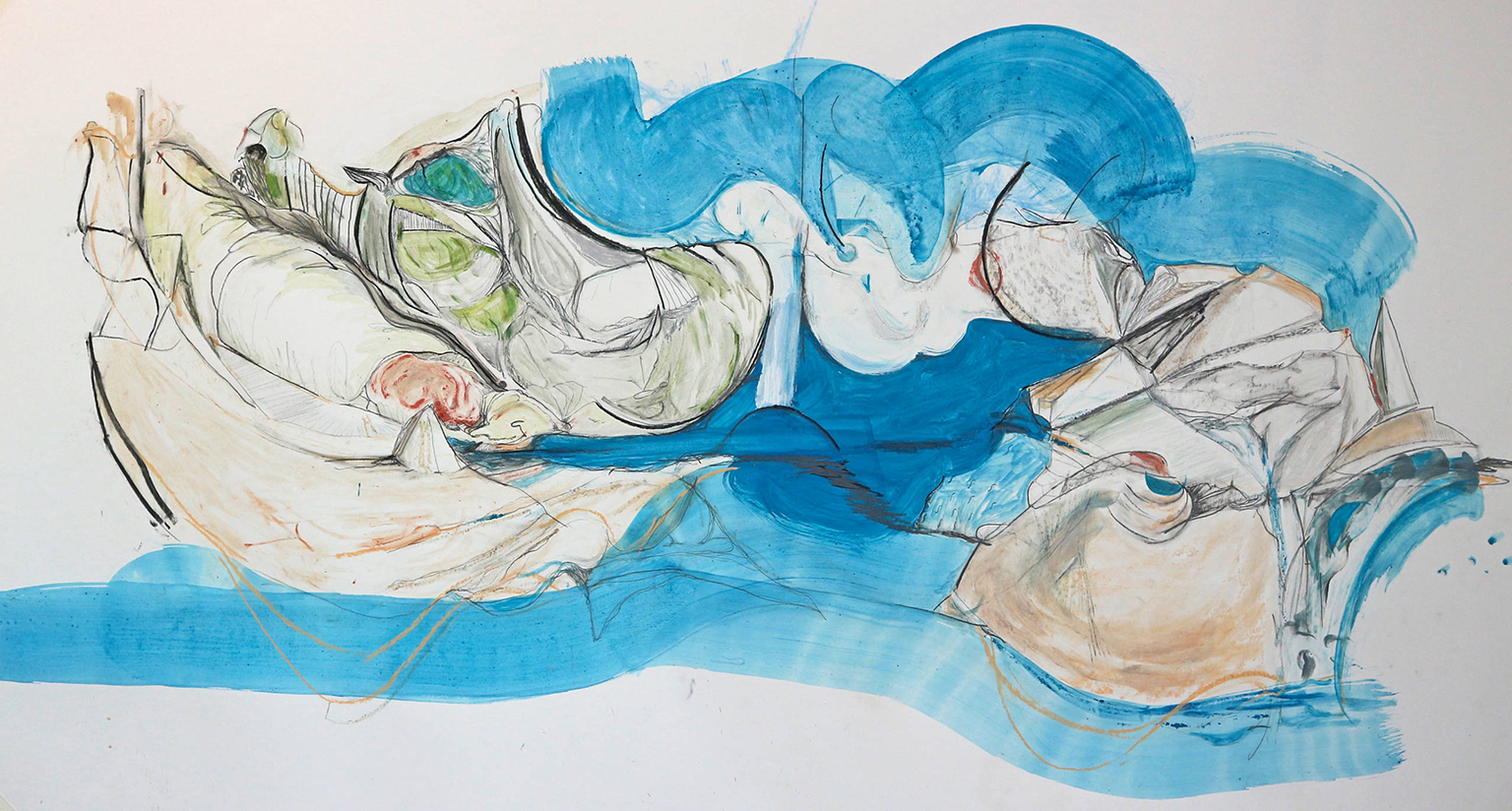 Rosanne Robertson, The Island, 2020. Charcoal, gouache and graphite. Acquired by The Hepworth Wakefield through the Contemporary Art Society's Rapid Response Fund, 2020