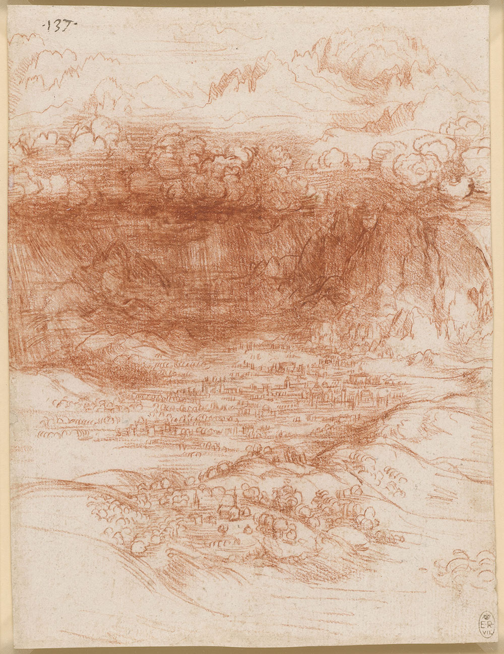 A storm over a valley, c1506-10  In 1506 Leonardo returned to Milan. He journeyed into the nearby Alps several times, recording his observations on one ascent: 'This may be seen, as I saw it, by anyone going up Monte Rosa, a peak of the Alps which divide France from Italy. Snow seldom falls there, but only hail in the summer, and in the middle of July I found it very considerable; and I saw the sky above me quite dark, and the sun as it fell on the mountain was far brighter than in the plain below, because less atmosphere lay between the mountain and the sun.' This drawing depicts a storm in the foothills of the Alps, with distant peaks sunlit above the stormclouds. It was most probably drawn from memory rather than on the spot, for the tiny city in the plain and the rolling foreground hills are rather stylised.  Bristol Museum & Art Gallery, £5, 10% off in shop with National Art Pass -