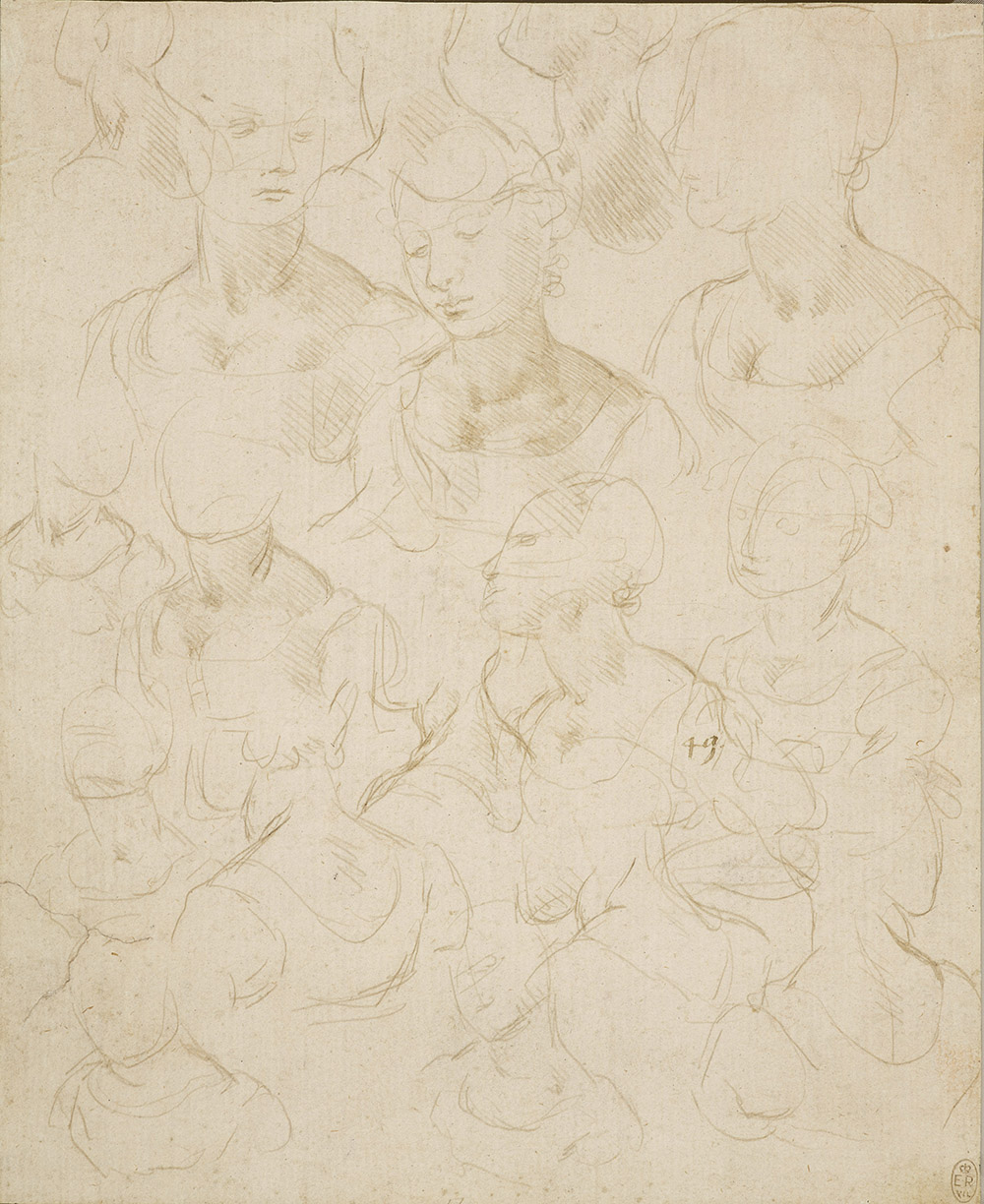 Sketches of a woman, bust length c1490  As court artist to Ludovico Sforza, Leonardo also made designs for architecture and entertainments and painted two of his finest works, The Last Supper (c1494-98; Santa Maria delle Grazie, Milan) and Lady with an Ermine (c1490; Czartoryski Collection, Krakow) – almost certainly a portrait of Ludovico Sforza's mistress Cecilia Gallerani. In that highly original painting, Cecilia and her ermine are caught in a momentary reaction to an event beyond the picture frame. To capture a sense of vivacity and spontaneity Leonardo here made 18 rapid sketches of a model. She is posed in two basic positions, from the front and from the back, as Leonardo experiments with different angles of her head, sometimes showing her arms too. One of the last sketches to be added to the sheet, at the centre of the left edge, is in the pose of Cecilia in the painting.  Manchester Art Gallery, Free to all, 10% off in shop with National Art Pass -