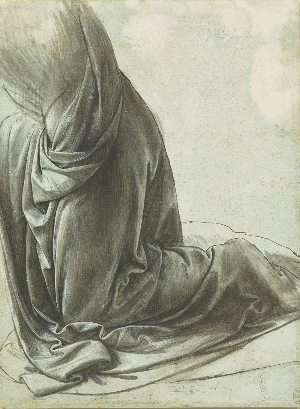 The drapery of a kneeling figure, c1491-94  Leonardo spent his twenties in Florence, but he had moved to Milan by April 1483, when he signed a contract to paint an altarpiece for the church of San Francesco Grande. The first version of The Virgin of the Rocks (Louvre, Paris) was not delivered, for unknown reasons; instead, Leonardo began a second version (National Gallery, London) in the early 1490s, which, after much legal wrangling, was finally installed in San Francesco in 1508. This is a study for the angel's drapery in the second version. Leonardo probably arranged cloth soaked in dilute plaster over a lay figure, which when dry could be drawn from at leisure – a technique that Leonardo learned during his time in Florence. The pale-blue ground of the paper gives a mid-tone,allowing Leonardo to explore a wide range of modelling using both black ink and white lead paint, applied with a brush.  Sunderland Museum & Winter Gardens, £2.50, 10% off in shop with National Art Pass    - Royal Collection Trust © Her Majesty Queen Elizabeth II 2018.
