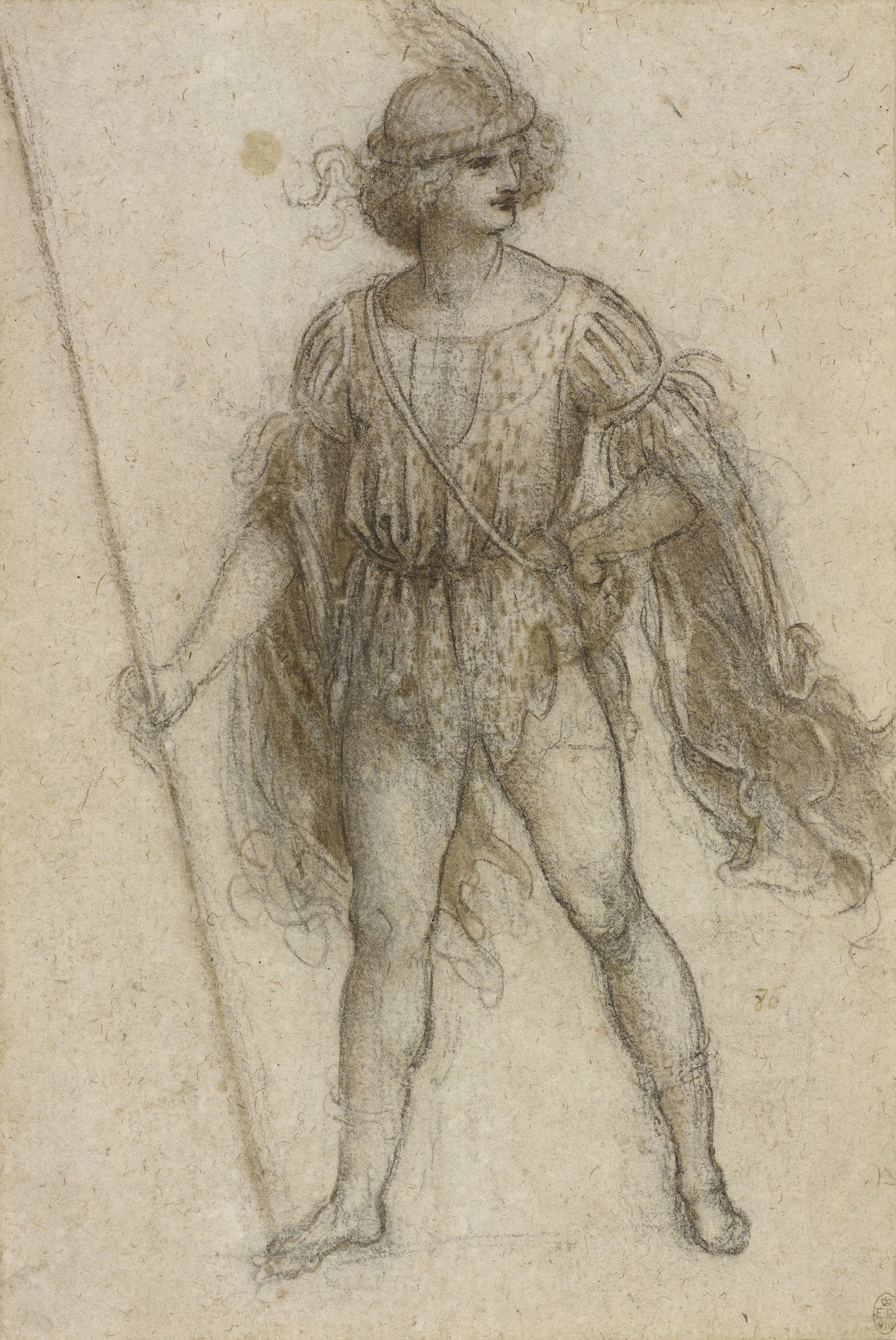 A masquerader as a lansquenet c1517-18  In 1516 Leonardo travelled to France to take up a position as court artist to Francis I. In his last years he worked as a designer rather than an executant, and he seems to have abandoned his scientific studies almost entirely. Among his many designs were costumes for the king's entertainments, for letters from the French court describe dress that corresponds closely with Leonardo's drawings, featuring a great richness and layering of textiles, with ribbons, plumes, fringes, spotted furs, and quilted sleeves and breeches. Although such ephemeral designs may now seem trivial, Leonardo clearly relished the opportunity to indulge his love of decorative elegance. During his last two-and-a-half years in France he had a secure living and an appreciative patron, but when he died on 2 May 1519, aged 67, so much of his life's work remained incomplete, to be left to posterity only through his drawings.  National Museum Cardiff, £5, 10% off in shop, café and restaurant with National Art Pass -