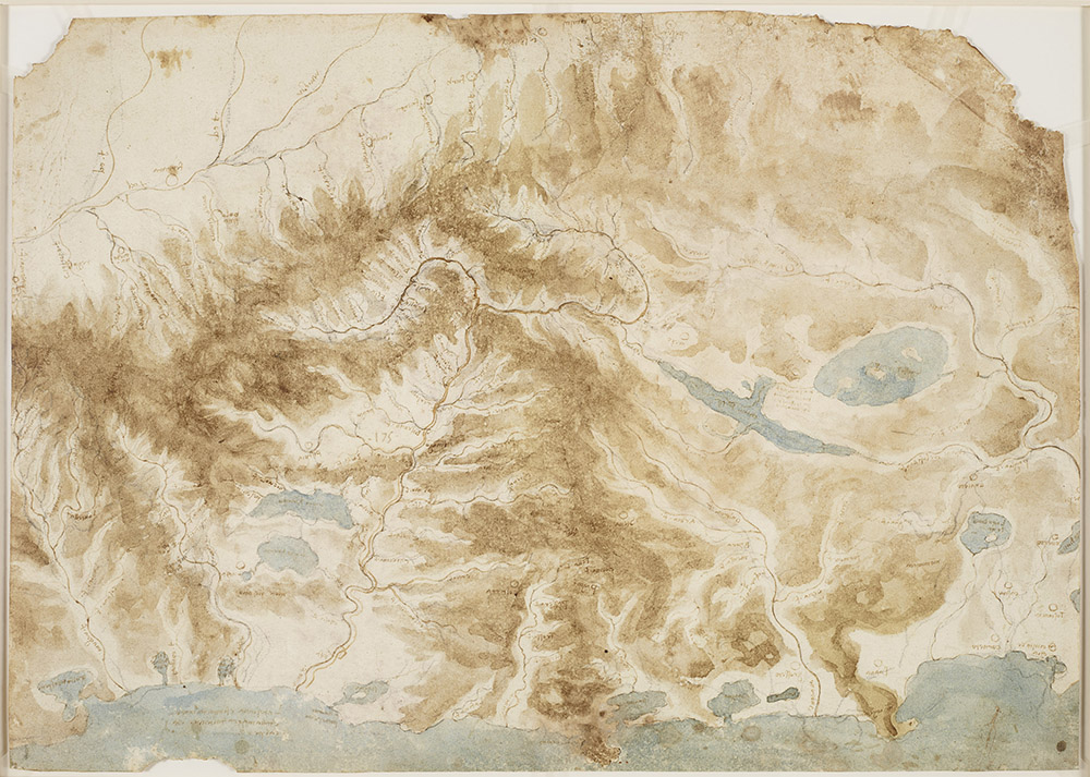 The rivers and mountains of central Italy c1502-04  During his career Leonardo attained a reputation as an engineer and mapmaker. He worked as a military architect to Cesare Borgia, surveyed the River Arno for the Florentine government, planned the drainage of malarial marshes, and devised a great canal from the sea to Florence to bypass the Arno. With north to the left, this map shows 275 km of the western coast of Italy. The focus is the Arno valley, at centre left; the River Tiber and the lakes of Trasimeno, Bolsena and the Valdichiana are to the right. The map was relevant to several of Leonardo's projects in military and civil engineering, but more generally reflects his long interest in the habits of rivers and the formation of mountains. It is likely that he made it simply for his own reference, as a summary of all his available knowledge on the topography of central Italy.  Kelvingrove Art Gallery and Museum, Glasgow, Free to all, 10% off in shop with National Art Pass -